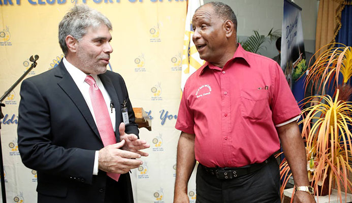 Rotary Club of Port-of-Spain president Alain Laquis, left, chats with Port-of- Spain Sports Council coordinator Kelvin Nancoo during the launch of the Port-of-Spain Rotary Club Games at Goodwill Industries, Fitz Blackman Drive, Wrightson Road, on Tuesday. PICTURE NICOLE DRAYTON