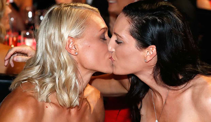 AFLW – and Erin Phillips' kiss of partner Tracy Gahan – has gone a long way to normalising same-sex relationships. Photograph: Michael Willson/AFL Media/Getty Images