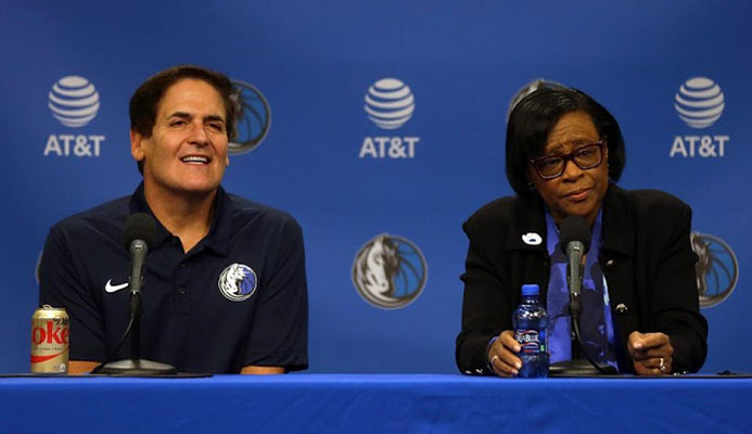 DALLAS, TEXAS – FEBRUARY 26: Mark Cuban and Cynthia Marshall look on during a press conference to introduce Cynthia Marshall as the new Dallas Mavericks Interim CEO at American Airlines Center on February 26, 2018 in Dallas, Texas. (Photo by Omar Vega/Getty Images)