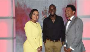 Minister of Sport and Youth Affairs, Shamfa Cudjoe, from left, track and field athlete Jereem Richards and President of the Trinidad and Tobago Olympic Committee, Brian Lewis. AYANNA KINSALE