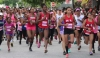 READY, SET, GO....and this group of runners face the starter's gun at the Scotiabank's Women Against Breast Cancer 5K at Skinner Park, San Fernando yesterday.