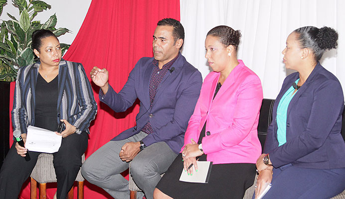 Future of Sport Conference, hosted by the Trinidad and Tobago Olympic Committee (TTOC) at the Normandie Hotel, St Ann's. In photo, conference moderator Racquel Moses, Sport Company Chairman Michael Phillips, IDB Principal Operations Specialist Carina Cockburn and Sagicor Group Risk Manager Je Anne Borneo. Photo by Roger Jacob.