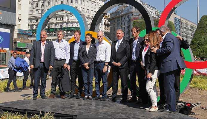 An Olympic Rings sculpture has been set-up in Buenos Aires ©Buenos Aires 2018