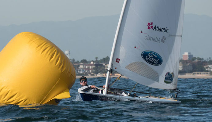 Andrew Lewis in training last year with the US Sailing Team in Long Beach California.