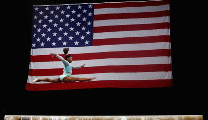(Photo: Tim Bradbury, Getty Images) Simone Biles competes during the U.S. Gymnastics Championships 2018 at TD Garden on Aug. 19 in Boston.