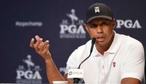 May 14, 2019; Farmingdale, NY, USA; Tiger Woods addresses the media during a press conference before the PGA Championship golf tournament at Bethpage State Park - Black Course. Mandatory Credit: John David Mercer-USA TODAY Sports