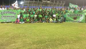 Members of Cougars Track and Field Club, who dominated the Barbados Relay Fair at the National Stadium in St Michael on Saturday.